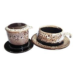 Bộ Quà Tặng Pin Tách Coffee - Gốm Sứ Bát Tràng - P08T - Màu Trắng Gấm