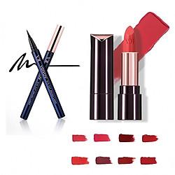 Bộ trang điểm VDIVOV son môi Lip Cut Rouge BB804 SELFIE BRICK 3.8g, bút kẻ mắt nước Eye Cut Brush Liner 01 Black 0.6g