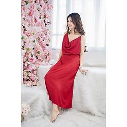 Váy Maxi Cổ Đổ siêu Hot Lụa Cao Cấp - kèm chip xinh