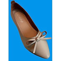 Giày búp bê mỏ nhọn da mềm có nơ xinh xắn-306 Kem