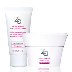 Combo Sữa rửa mặt dưỡng trắng (50g) & kem dưỡng trắng da ban ngày (40g) Za True White (Foam 50g + Day Cream 40g)