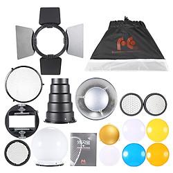 Bộ Phụ Kiện Đèn Flash Speedlite 9 trong 1 Với Bộ Chuyển Đổi/ Barndoor/ 20 X 30cm Softbox / 2 Honeycombs / Gương Chiếu Mini / Snoot Hình Nón/ Bóng Khuếch Tán /Bộ Lọc 4 Màu - Đen