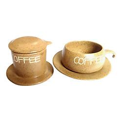 Bộ Quà Tặng Pin Tách Coffee - Gốm Sứ Bát Tràng - P08N - Màu Nâu