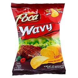 Snack Poca Khoai Tây Wavy Vị Bò Bít Tết Manhattan (52g / Gói)