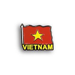 Huy hiệu lưu niệm Việt Nam (lapel pin) - Cờ Việt Nam (chữ vàng)