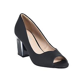 Giày Gót Trong Suốt Vân Cát Merlyshoes 0813 - Đen Cát