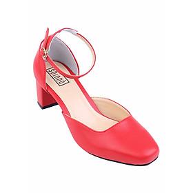Giày Gót Vuông Hở Eo Shinno 15001 - Đỏ