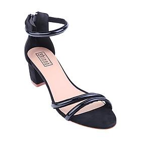 Giày Sandal Đế Vuông Quai Đôi Shinno 20002 - Đen