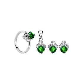 Bộ Trang Sức Bạc Emerald Luxury Eropi 103080013