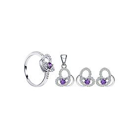 Bộ Trang Sức Bạc Purple My Heart Eropi 103080074