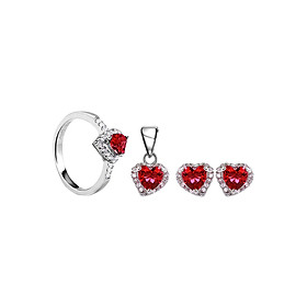 Bộ Trang Sức Bạc Ruby Heart Eropi 103080076