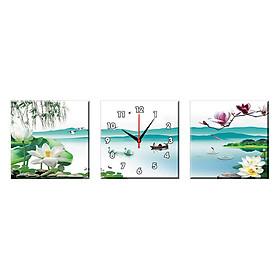 Bộ Ba Tranh Đồng Hồ Treo Tường Thế Giới Tranh Đẹp Q16-124-DH