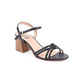 Giày Sandal Nữ Gót Vuông Shinno 19002 - Đen