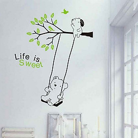 Decal Dán Tường NineWall Lovely Tree And Bear BA017