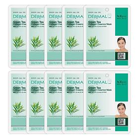 Combo 10 Mặt Nạ Dermal Tinh Chất Collagen Với Chiết Xuất Trà Xanh