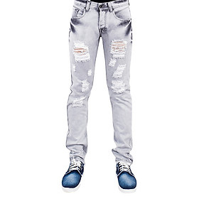 Quần Jeans Nam Skinny Wash Rách A91 JEANS MSKBS177GY - Xám Nhạt