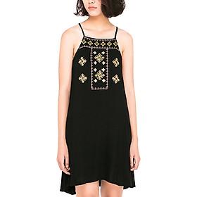 Đầm Yếm Hai Dây Thêu Họa Tiết WOLO WL0003 - Đen (Free Size)