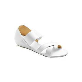 Giày Sandal Nữ Thun Quai Chéo Đế Xuồng Princess PRIN10T - Trắng