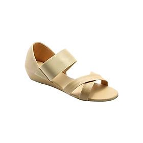 Giày Sandal Nữ Thun Quai Chéo Đế Xuồng Princess PRIN10K - Kem