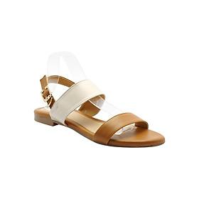 Giày Sandal Nữ Quai Ngang Phối Màu Princess PRIN44N - Nâu