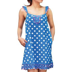 Đầm Ngủ Họa Tiết Chấm Bi Wow CWDNS1405KT - Xanh