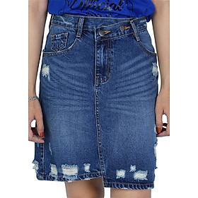 Chân Váy Jeans Chữ A Wash 1 Túi 009 A91 JEANS WSDBS009ME - Xanh