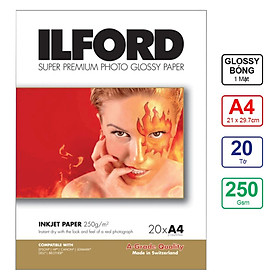 Giấy In Ảnh ILFORD 1 Mặt Bóng (Glossy) A4 250gsm 20 Tờ