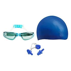 Combo Kính Bơi, Mũ Bơi, Bịt Tai Kẹp Mũi POPO Sport Set2360-Blue - Xanh Dương