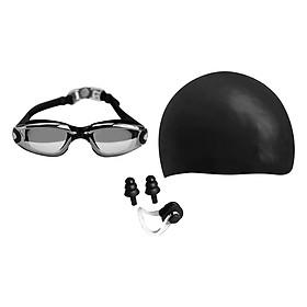 Combo Kính Bơi, Mũ Bơi, Bịt Tai Kẹp Mũi POPO Sport Set2360-Black - Đen