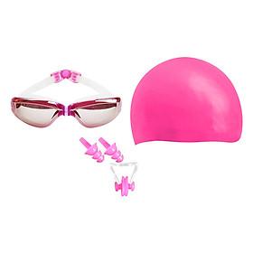 Combo Kính Bơi, Mũ Bơi, Bịt Tai Kẹp Mũi POPO Sport Set2360-Pink - Hồng