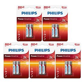 Combo 5 Vỉ - Pin Kiềm (Alkaline) Philips AAA LR03P2B (10 Viên AAA) - Đỏ