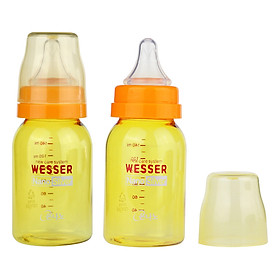 Bộ 2 Bình Sữa Wesser Nano Silver Cổ Hẹp (140ml) - Vàng