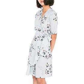 Đầm Vạt Thắt Nơ Eo In Hoa WOLO WL0001 - Xanh Nhạt (Free Size)