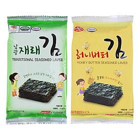 Combo Rong Biển Khô Vị Truyền Thống Namkwang Food (15g) + Rong Biển Khô Tẩm Bơ Mật Ong Namkwang Food (15g)
