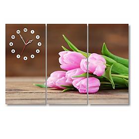 Hình đại diện sản phẩm Tranh Đồng Hồ Dyvina 3T3060-39 - Hoa Tulip Hồng Phấn