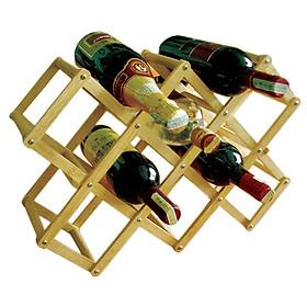 Kệ Rượu Xếp 10 Chai Gỗ Đức Thành – 40401 - Hàng Chính Hãng