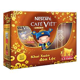 Hộp Quà: Nescafe 2 Hộp Café Việt Cà Phê Sữa Đá (14 x 20g)/Hộp Tặng 1 Ly Thủy Tinh Cao Cấp