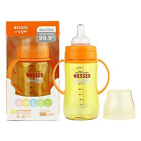 Bình Sữa Wesser Nano Silver Cổ Rộng (260ml) - Vàng