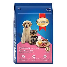 Đồ Ăn Khô Cho Chó Con Hương Vị Thịt Bò Và Sữa SmartHeart (3kg)