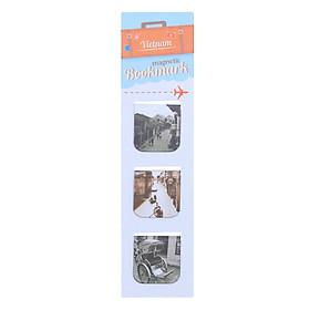 Bộ 3 Bookmark Nam Châm Kính Vạn Hoa - Hội An 4 (Trắng Đen)