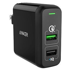 Adapter Sạc 2 Cổng Anker PowerPort 30W Hỗ Trợ Sạc Nhanh Q.C 3.0 - A2024J11 (Đen) - Hàng Chính Hãng