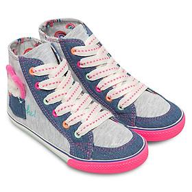 Giày Sneaker Bé Gái Cổ Cao Đính Hình Búp Bê D&A BG1513 – Màu Ghi