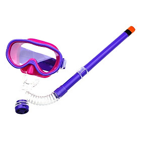 Kính Lặn Ống Thở JUNIOR, Mắt Kính Trong Suốt, Viền Kính Ngăn Nước POPO BoKinhLan-Junior-Purple-1 - Tím