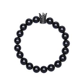 Vòng Tay Đá Obsidian Charm Black Crown VD161102 (8mm)
