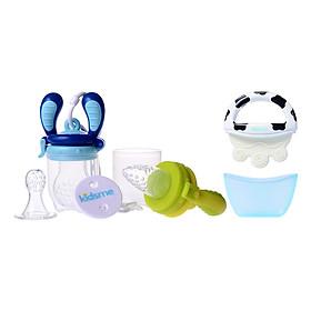 Combo Đồ Dùng Ăn Uống Cho Bé Kidsme: Bộ Túi Nhai Chống Hóc Kidsme Dành Cho Bé Từ 6 Tháng Tuổi Trở Lên + Dụng Cụ Làm Dịu Nướu Icy Moo Moo Kidsme 9655 – Xanh Biển