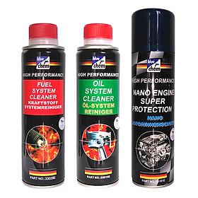 Bộ 3 Sản Phẩm Bluechem Làm Sạch Và Bảo Dưỡng Động Cơ Ô tô Xăng (3 x 250ml)