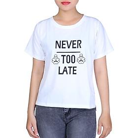 Hình đại diện sản phẩm Áo Thun Nữ Xẻ Tà Never Too Late T&D D201 -Trắng (Freesize)