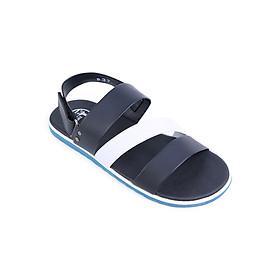 Giày Sandal Nam 3 Quai Ngang Evest D37 - Đen Phối Trắng