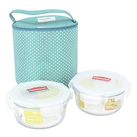 Combo 2 Hộp Happy Cook Glass Tròn (580ml) + 1 Túi Tiện Lợi (Màu Ngẫu Nhiên)