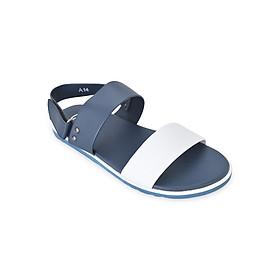 Giày Sandal Nam 2 Quai Ngang Evest C23 - Đen Phối Trắng
